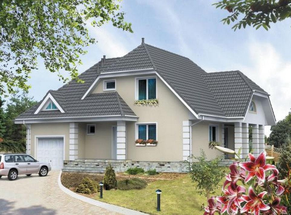 красивые дома с гаражом и мансардой фото